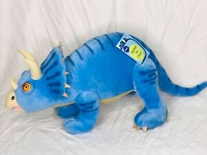 "26"" Large Blue Triceratops Dinoland Pillow w/ Soft Roar Sound Whisper Soft Mills"
