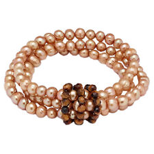 Pearl Lustre Golden Freshwater Pearl Gemstone Stretch Bracelet TSC Sold Out!