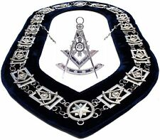 Past Master SILVER Dress Officer Collar Chain + Square & Compass JEWEL Package