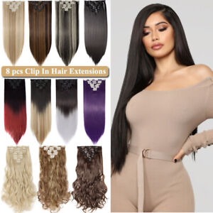 Great Clip In Hair Extensions 8 Piece Double Weft Real Natural as Human Blonde