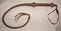 "38"" -  4 plait  DARK BROWN LEATHER QUIRT  ( WHIP / CROP  / FANTASY WHIP )"