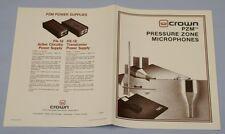 RARE_CROWN  PZM Pressure Zone Microphones  Original 4-page  Sales Brochure