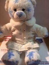 "Build a Bear Winter Silver Snowflake Bear Blue White Plush Stuffed Animal 16"""