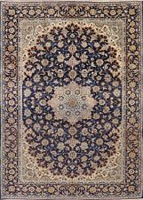 Vintage Traditional Floral Navy Blue Najafabad Area Rug Hand-Knotted Wool 10x13