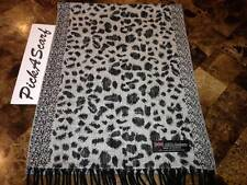 100% CASHMERE Scarf White Black Leopard Plaid Warm SCOTLAND Loop Wool Wrap B58