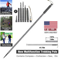 Multi-Function Walking Trekking Stick Pole Folding Defense Stick Screwdriver USA