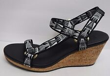 Teva Size 9.5 Black Wedge Sandals New Womens Shoes