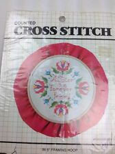 Vtg Designs for the Needle SISTER Counted Cross Stitch Framing Hoop Picture Kit
