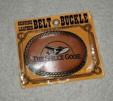 NEW The Spruce Goose Genuine Cowhide Leather Belt Buckle USA Made 80s Cowboy