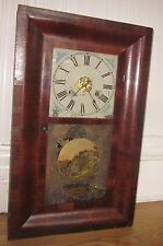 Antique Vintage Mid 19th c New Haven 30 Hour Weight Clock Reverse Painted Door