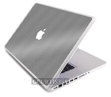 "SILVER CARBON FIBER Vinyl Lid Skin Decal fits Apple Original Macbook 13"" Laptop"