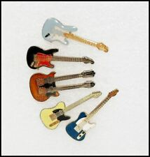 Lot Of 5 80's Misc. Enamel Mini Guitar Pins Badges