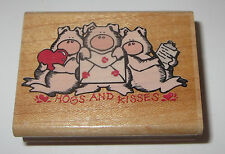 Hogs and Kisses Rubber Stamp Pigs Love Letters Lips Rare Retired Wood Mounted