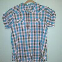 Wrangler Women's Size Large Plaid Print Short Sleeve Pearl Snap Shirt Blouse