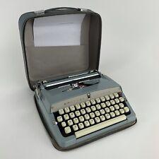 More details for vintage typewriter brother de luxe manual portable 1964 light blue & case bag