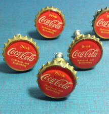 "(1) Retro Red Bottle Top Coca Cola Knob,""Drink Coca Cola Delicious&Refreshing"""