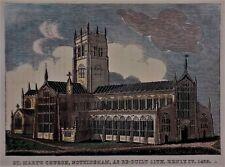 OLD ANTIQUE PRINT ST MARYS CHURCH NOTTINGHAM c1840's ENGRAVING ORANGES HISTORY