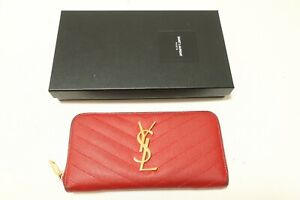 Authentic YSL Yves Saint Laurent Long Wallet Leather Zip Around #8152