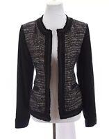 Chicos Womens Tweed Boucle Blazer Jacket Metallic Thread Black Sz 1 Medium 8
