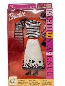 Vintage Mattel Barbie Fashion Avenue Top/Skirt Outfit Accessories 2002 NRFB