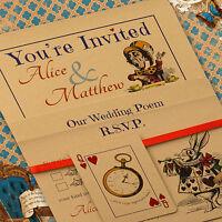 Personalised Vintage Alice in Wonderland Wedding Invitations, Inc Envelopes Buff