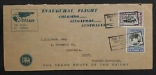 RARE 1950 Ceylon 1st Flight Colombo to Australia via Singapore Cover w 2 stamps