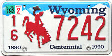 Wyoming RED BRONCO Embossed License Plate - COWBOY HORSE WY