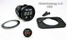 New Industrial Large Body 12 /24 DC Round Red Voltmeter Battery  Monitor Marine