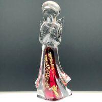 Murano Art Glass Praying Angel Figurine Sculpture Gold Red Italy Venetian Vtg