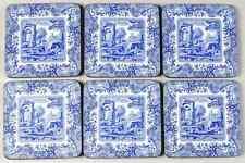 Spode BLUE ITALIAN Set Of 6 Square Corkback Coasters (Pimpernel) 9867213