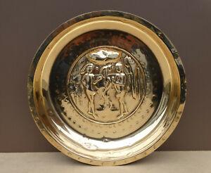 Nice Nuremberg brass Alms bowl, Adam and Eve, first half 16th c.