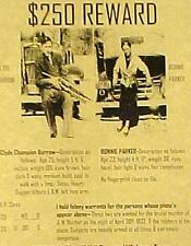 Bonnie and Clyde Wanted Poster Parker and Barrow Free Shipping
