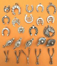 HORSESHOE, ALADDIN'S LAMP, WISHBONE Vintage sterling silver LUCKY charms bracel