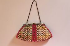 NWOT Rafe New York Tan Burlap Purse w/Pink Leather Trim and Multi-Color Pattern