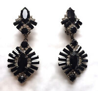 Art Deco Style Baguette Jet & Clear Crystal Drop Earrings CLIP ON New