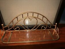 Vintage Mid Century Brass & Glass Bathroom Wall Shelf for over Sink Toilet Heart