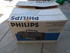 Retro Philips Dual Deck Compo Stereo Radio Cassette Recorder RARE GWO BOXED