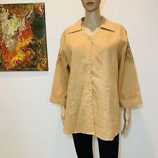 Natural Collection Linen Blouse Shirt Top Size Large #BT476