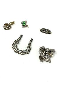 x5 Lot of Antique Art Deco Paste Jewellery Items inc Sterling Silver 925 #1794