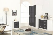REFLECT High Gloss Grey / Matt White Sliding 3 Piece Bedroom Furniture Set