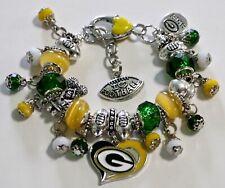 "GREEN BAY PACKERS HANDMADE NFL FOOTBALL CHARM BRACELET 6 3/4"" Adjustable."