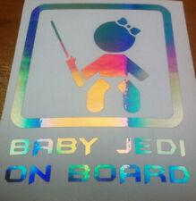STAR WARS  BABY GIRL JEDI ON BOARD VINYL DECAL STICKER    IRIDESCENT EFFECT