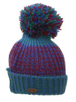 Thick Knitted Multi-Color Beanie w/ Pom
