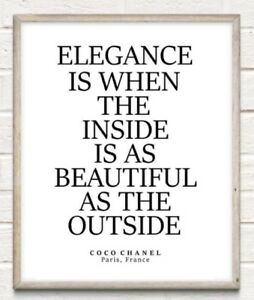Coco Chanel Elegance Beauty Fashion Typography Print Poster Unframed Home Quote