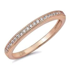 USA Seller CZ Band Ring Sterling Silver 925 Best Jewelry Selectable Rose Gold