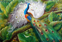 Peacock Birds In Tree Garden Landscape STRETCHED 24X36 Oil On Canvas Painting