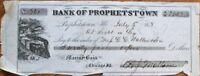 Prophetstown, IL 1858 Bank Check w/Railroad/Locomotive Vignette - Illinois
