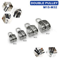 Stainless Steel Swivel Double Wheel Pulley Block Rigging Lifting Rope Lifter New