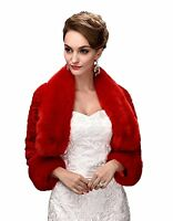 Winter Faux Fur Wedding Coat Wrap Shawl Bolero Jacket For Bridal Women's Coat