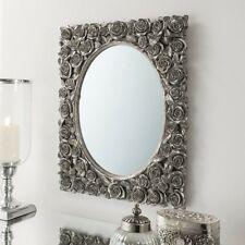 Brand New Gallery Direct decorative silver leaf rose design mirror